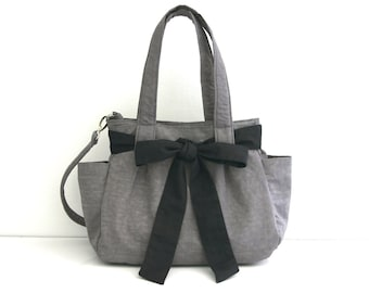 SALE Gray Diaper bag with Bow in Water-resistant Crinkle nylon, Tote bag, Messenger, Zipper closure, 3 Compartments - Nuch with Bow