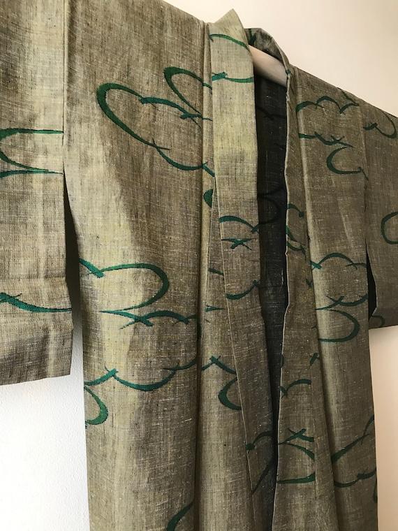 Antique Silk Kimono / Tsumigi (pongee) / Abstract