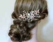 Gold or Rose gold Leaf Vine Wedding Headpiece. Boho Crystal Pearl Bridal Hair Comb. Silver Rhinestone Flower Wire Pin, Hairpiece. FLORA