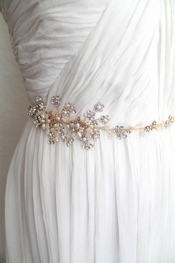 Wedding Dress Belts.Silver Or Gold Leaf Vine Wedding Dress Belt Boho Crystal Freshwater Pearl Flower Bridal Sash Rhinestone Thin Slim Bride Belt Marie