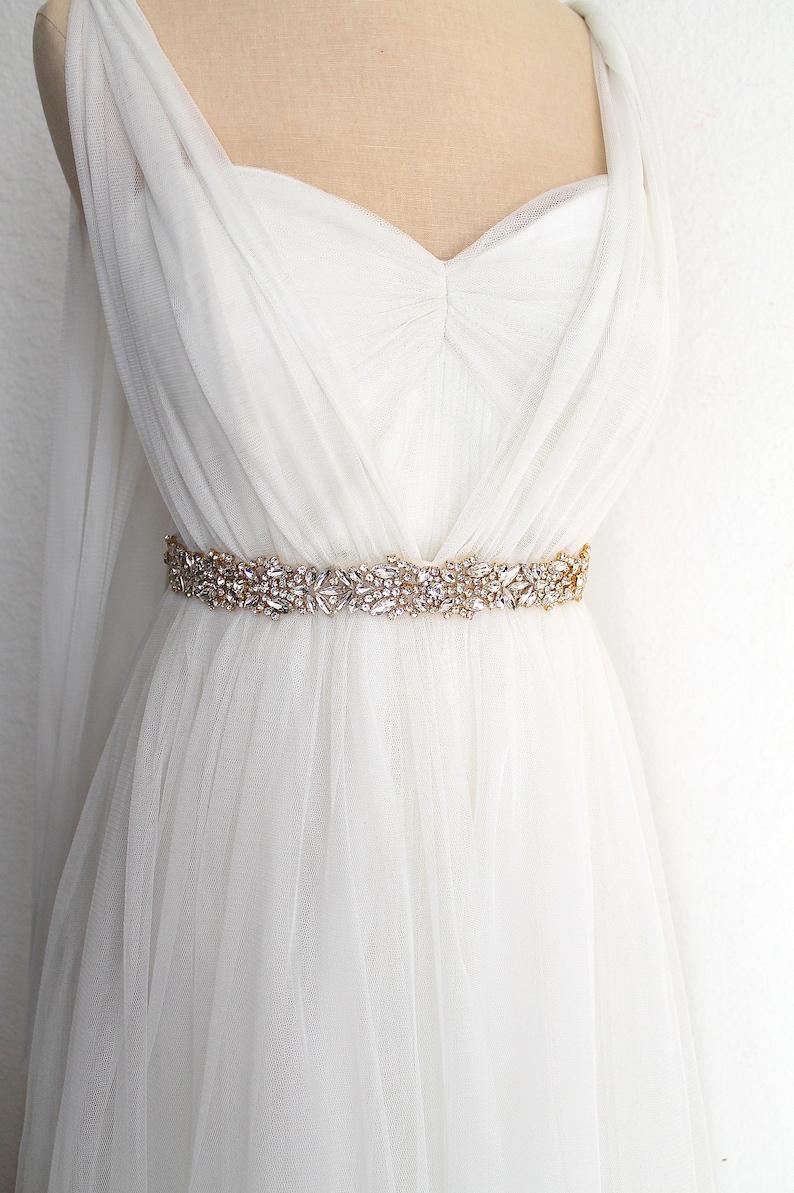 CRYSTALLINE GOLD All Around Beaded Bride Belt Rhinestone Diamond Diamante Jewel Bridal Sash Luxury Gold Crystal Beaded Wedding Dress Belt