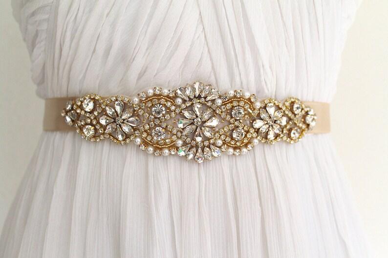 Oro da sposa sash di cristallo. oro rosa strass perla applique etsy