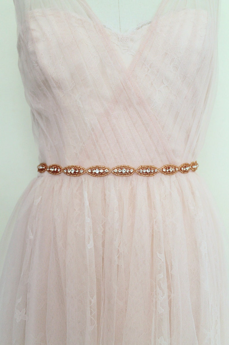 5d342d827788 Rose gold Oval Slim Crystal Bridal Sash. Beaded Rhinestone | Etsy