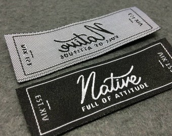 20 Black Iron on Name// Labels //school //tags with own choice of picture//logo