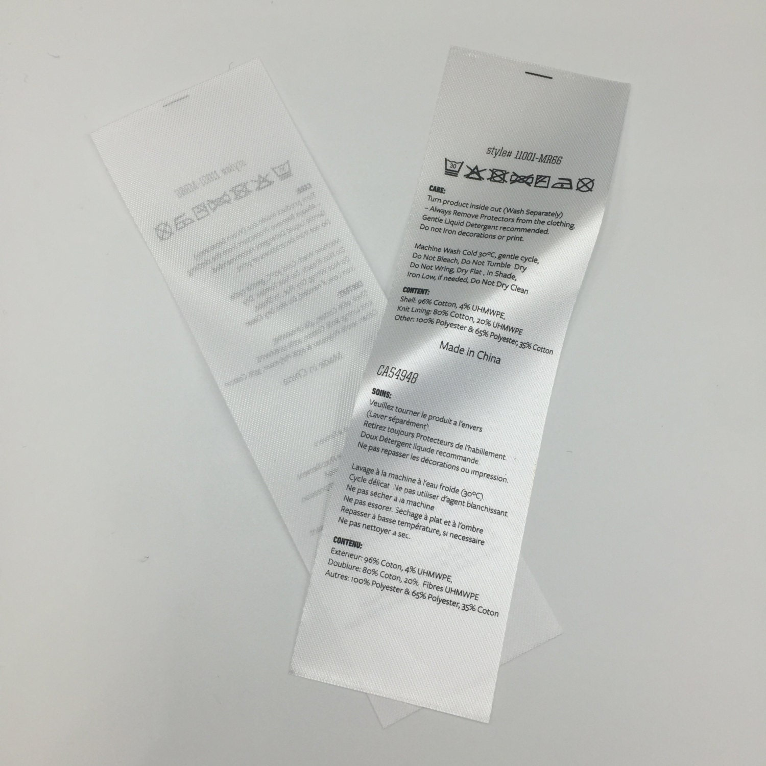 150 Custom Printed Fabric Labels ,Satin Folded Care Label, Black Printed on  white satin