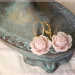 Shabby Chic Pale Pink Rose Earrings, Boho Chic Earrings, French Jewelry, Vintage Style Earrings