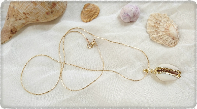 Seashell Gold Cowrie Shell Necklace Shabby Chic Necklace Beach Accessories Nautical Charm