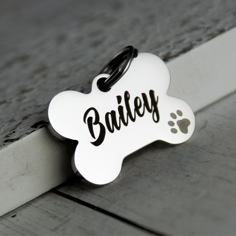 eccc2822fd0e Personalized Small Dog Tag with dog paw Dog Name Tag Dog   Etsy
