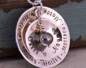 Family Necklace / Mommy Necklace /  Personalized Sterling Silver Jewelry / Unending Love Necklace