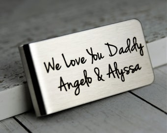 Money Clip • Engraved Money Clip • Gift for Daddy from kids • Custom Stainless Steel Money Clip • Personalized Money Clip