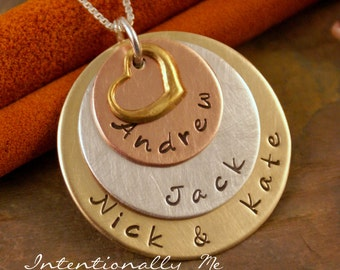 Hand Stamped Mommy Necklace -  Personalized Jewelry - Mixed Metal Family layered keepsake