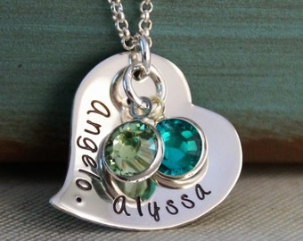 Heart Necklace / Mommy Necklace / Personalized Jewelry / Sterling Silver Necklace / You and Me Fancy Heart (Sassy Heart)