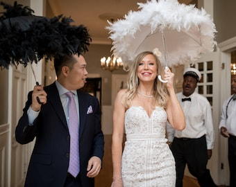 Bride and Groom New Orleans Wedding Second Line Umbrellas- set of 2- MEDIUM or LARGE size- wedding parasols- Mrs and Mrs- white ivory black