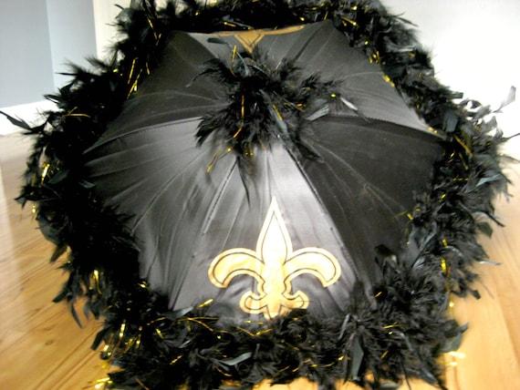 Louisiana Saints Fan New Orleans Party Second Line Umbrella Parasol MEDIUM any colors Black Yellow on Black Football feather boa