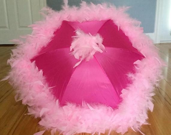 Jazz Fest New Orleans bridesmaids bachelorette Garden Party Tea Party Princess Parasol Second Line Umbrella Light Pink on Dark Pink Girl