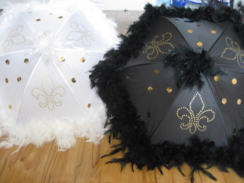 Bride and Groom New Orleans Wedding Second Line Umbrellas set image 0