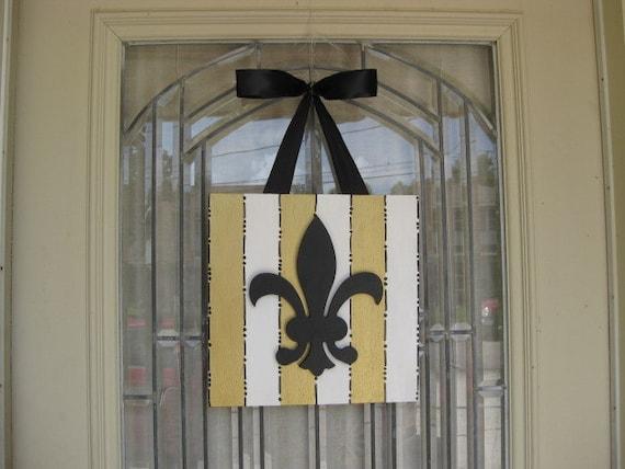 New Orleans Saints Black Gold Stripe Fleur De Lis Door | Etsy