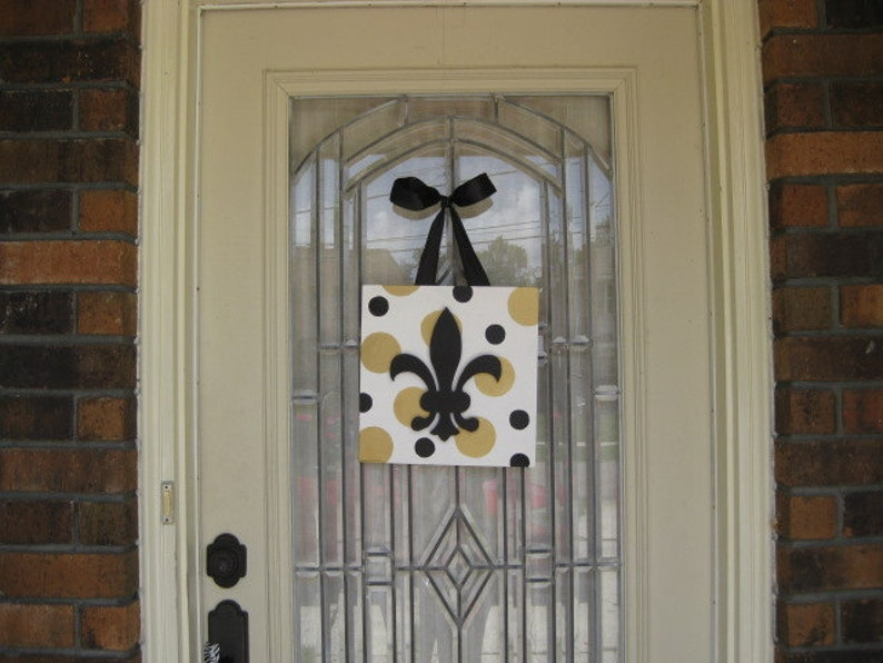 New Orleans Southern Halloween Fleur De Lis Door Decoration Cajum Chevron Orange White
