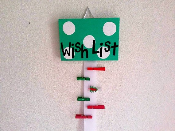 Christmas List Maker.Santa Christmas Wish List Personalized Green With White Polka Dots Kids Pre Readers Hand Painted Wooden Board Ribbon List Maker Wish