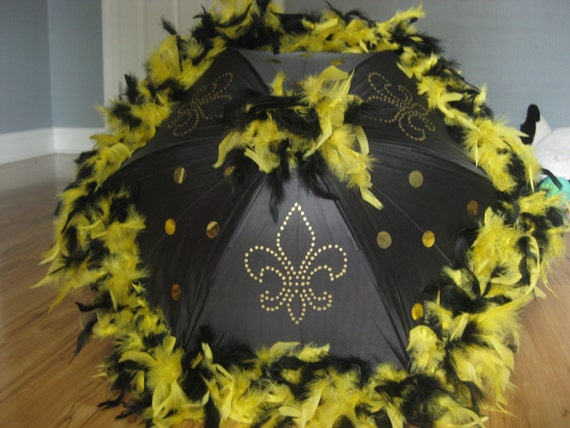 New Orleans Saints Second Line Umbrella Parasol Black And Etsy