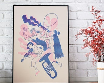 Lady band - A2 riso print