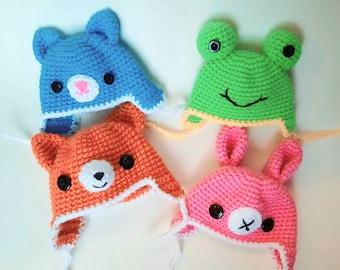 Crochet animal hat for BJD, Smart Doll, Dollfie Dream