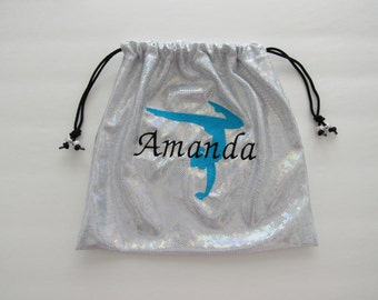 Personalized monogram GYMNASTICS GRIP BAG w/ this large gymnast design ~you pick colors match to your team leotard  ~ Birthday gift or gift