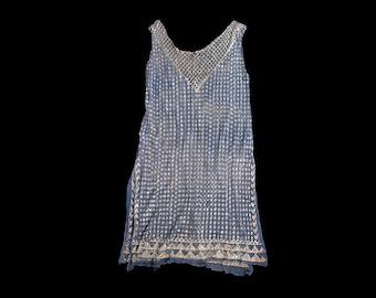 1920s Dress 20s Flapper Dress Beaded Silk Chiffon M L