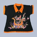 Rare 1920s Embroidered Chinoiserie Silk Blouse / Amazing COLORS