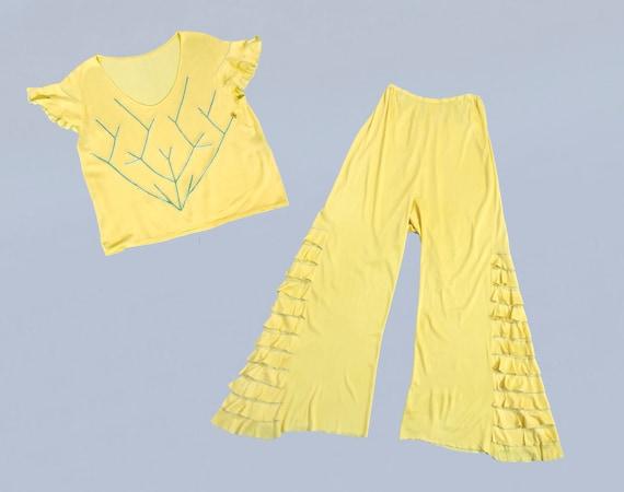 RARE!! 1930s Beach Pajamas / 30s YELLOW Two Piece