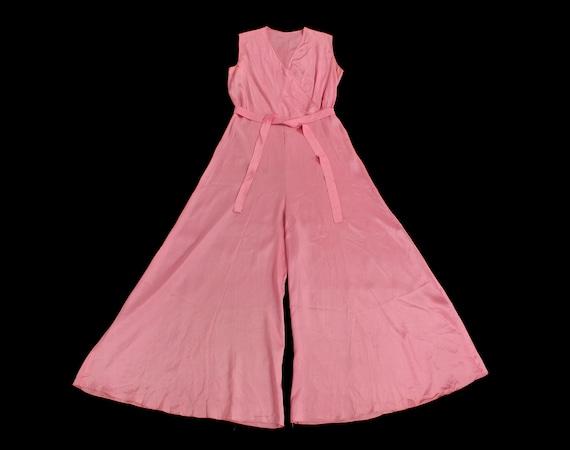 Rare! 1930s Beach Pajamas  / 30s PINK Pj Jumpsuit