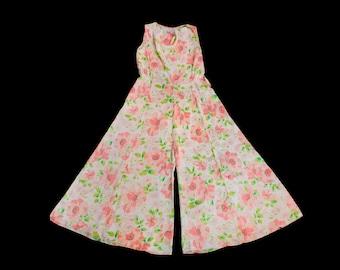 Rare! 1930s Beach Pajamas  / 30s Floral Silk Lounge Jumpsuit