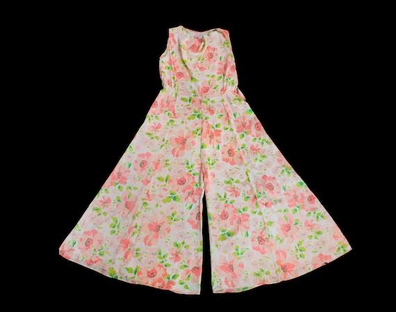 Rare! 1930s Beach Pajamas  / 30s Floral Silk Loung