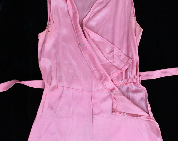 Rare! 1930s Beach Pajamas  / 30s PINK Pj Jumpsuit… - image 3
