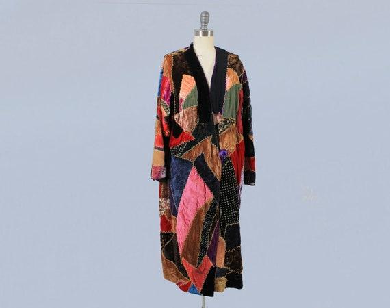 RARE 1920s Coat / 20s Crazy Quilt Coat / Silk Velv