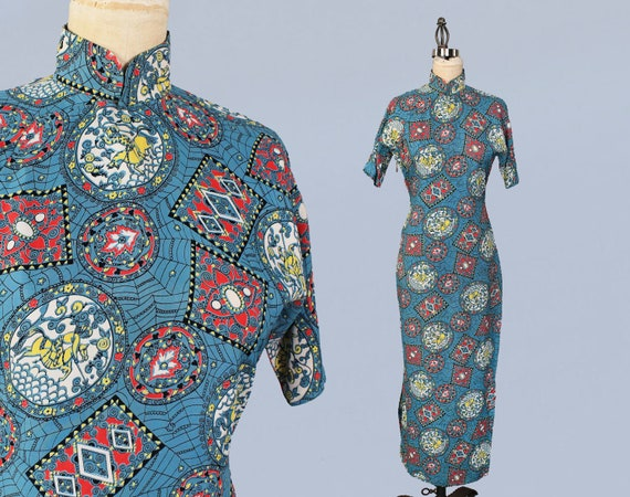1940s Dress / 40s Novelty Print Cheongsam / Cold R