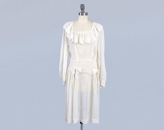 1930s - 1940s Dress / 30s 40s Sheer Floaty Light A