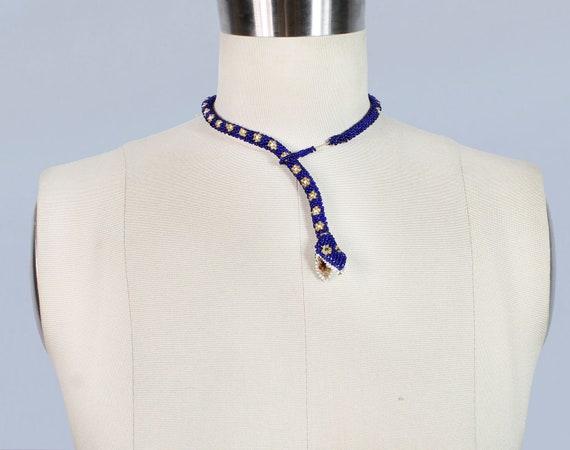 Rare 1920s Choker / Beaded Bright Blue SNAKE Neck… - image 3