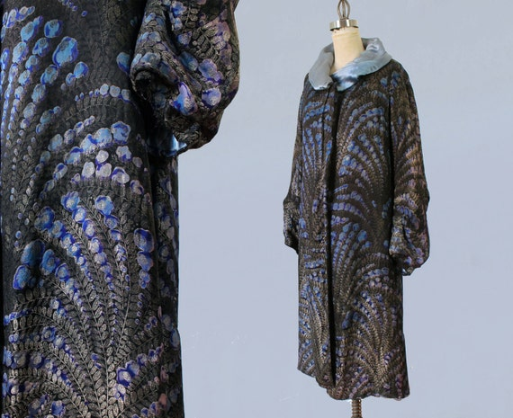 1920s Flapper Coat / 20s  Geometric Print Metallic