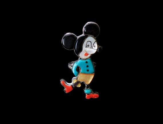 Mickey Mouse Zuni Ring / Native American Southwest