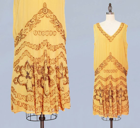 1920s Dress / 20s Flapper Dress BEADED Silk Chiffo