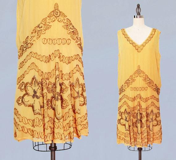 1920s Dress / 20s Flapper Dress BEADED Silk Chiff… - image 1