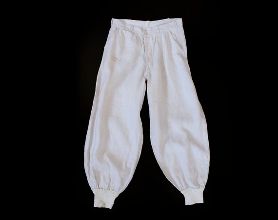 1920s Pants / 20s White Cotton Pants