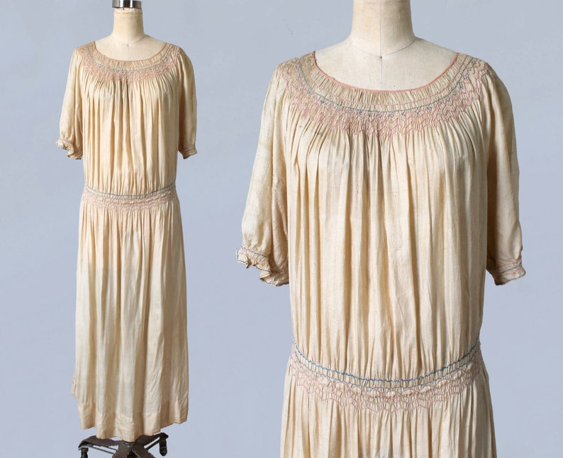 a9391725026c5f 1920s Dress   20s Embroidered Peasant Dress   Smocked Hip and