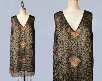 AMAZING 1920s Dress / 20s Gold Lamé Embroidered Deco Flapper Dress / Floral Chiffon CUTOUTS / Gold Lace Trim