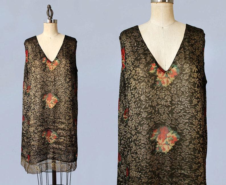 9e00cd97e38 AMAZING 1920s Dress / 20s Gold Lamé Embroidered Deco Flapper | Etsy