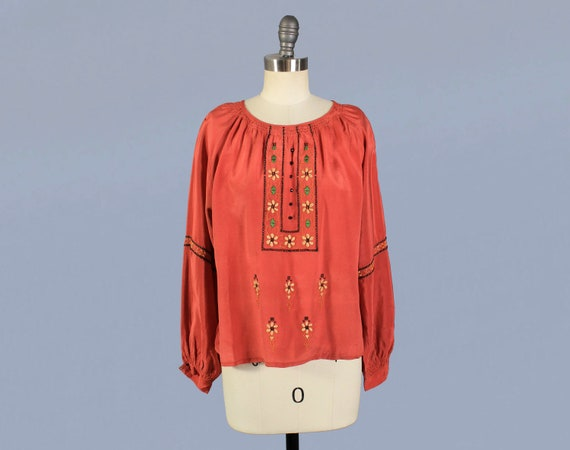 1920s Blouse / 20s Embroidered Silk Peasant Blouse