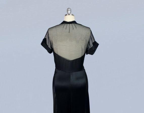 1930s Dress / 30s MESH Back and Yoke Gown / Evenin