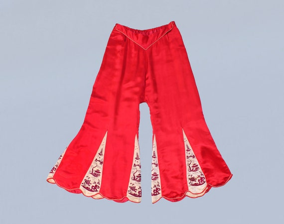 Rare 1930s Pants  Embroidered Chinese Satin Beach or Lounge PJ  13f4134de