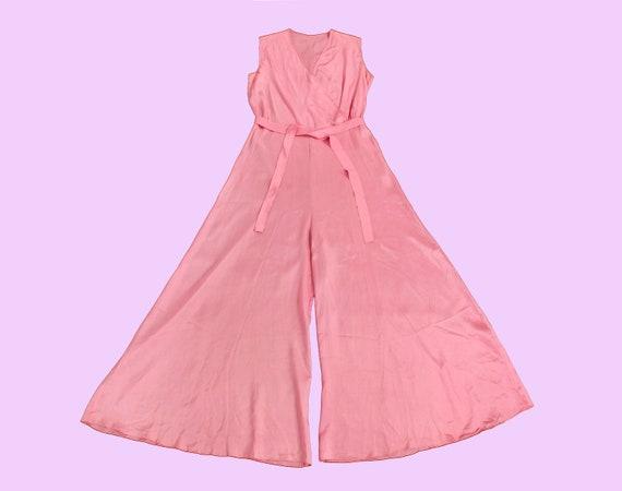 Rare! 1930s Beach Pajamas  / 30s PINK Pj Jumpsuit… - image 7